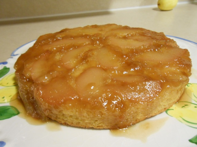 ROYAL RIVIERA PEAR UPSIDE DOWN CAKE OUT OF PAN ON PLATTER