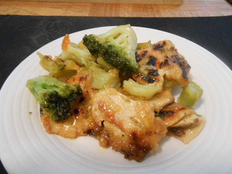 GARDEIN CHICK'N WITH ORANGE MARMALADE SAUCE AND BROCCOLI PLATED