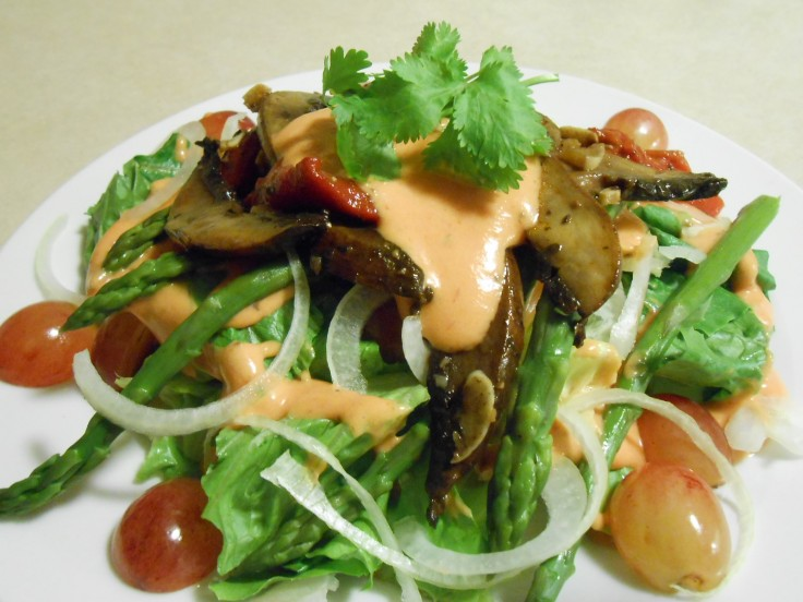 SWEET CREME FRAICHE SALAD DRESSING OVER MUSHROOM ASPARAGUS SALAD