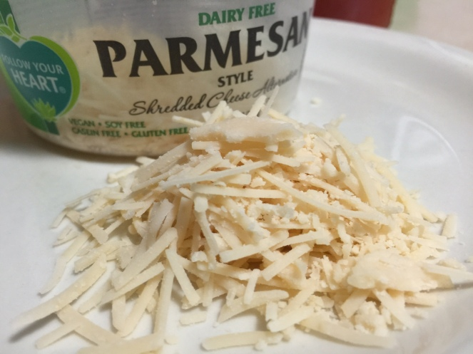 FOLLOW YOUR HEART PARMESAN ON PLATE
