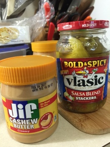 JIF CASHEW BUTTER & VLASIC BOLD & SPICY STACKERS SALSA BLEND